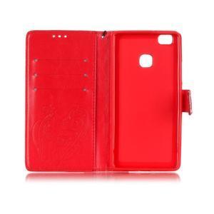 Magicfly knížkové pouzdro na telefon Huawei P9 Lite - červené - 4