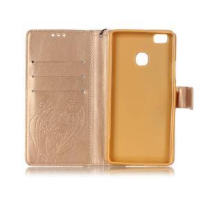 Magicfly knížkové pouzdro na telefon Huawei P9 Lite - zlaté - 4