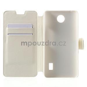 Bílé PU kožené pouzdro na Huawei Y635 - 4