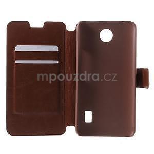 Hnědé PU kožené pouzdro na Huawei Y635 - 4