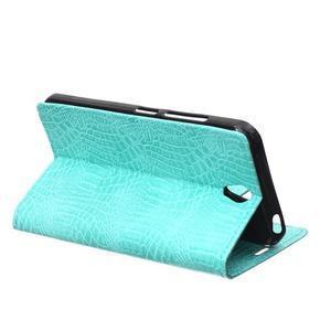 Croco PU kožené pouzdro na mobil Lenovo Vibe S1 - cyan - 4