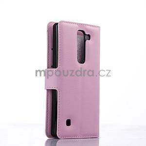 PU kožené zapínací pouzdro na LG Spirit - růžové - 4