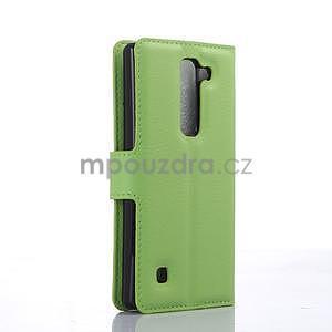 PU kožené zapínací pouzdro na LG Spirit - zelené - 4