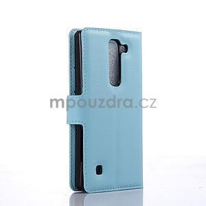 PU kožené zapínací pouzdro na LG Spirit - světle modré - 4