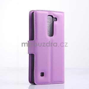 PU kožené zapínací pouzdro na LG Spirit - fialové - 4