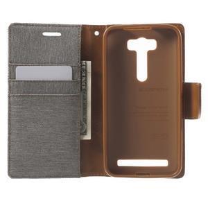 Canvas textilní/PU kožené pouzdro na Asus Zenfone 2 Laser - šedé - 4