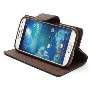 Fancy peněženkové pouzdro na Samsung Galaxy S4 - černé/hnědé - 4