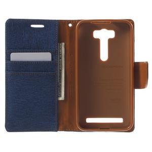 Canvas textilní/PU kožené pouzdro na Asus Zenfone 2 Laser - modré - 4