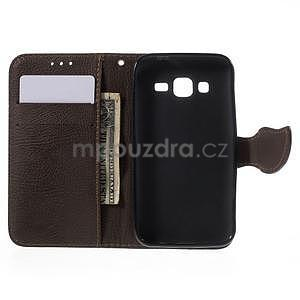 Černé/hnědé peněženkové pouzdro na Samsung Galaxy Core Prime - 4