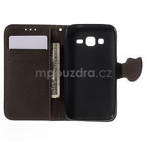 Červené/hnědé peněženkové pouzdro na Samsung Galaxy Core Prime - 4