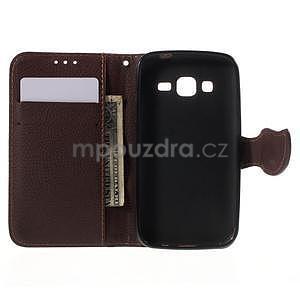 Rose/hnědé peněženkové pouzdro na Samsung Galaxy Core Prime - 4