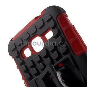 Extrémně odolný obal se stojánkem na Samsung Galaxy Core Prime - červený - 4