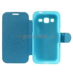Zapínací peněženkové pouzdro na Samsung Galaxy Core Prime - tyrkysové - 4