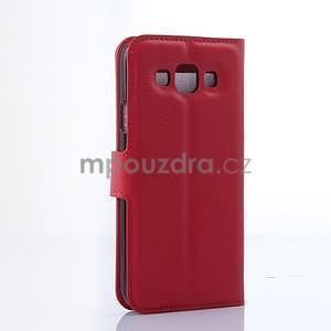 PU kožené peněženkové pouzdro na Samsung Galaxy E5 - červené - 4