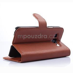 PU kožené peněženkové pouzdro na Samsung Galaxy E5 - hnědé - 4