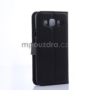 PU kožené peněženkové pouzdro na Samsung Galaxy E5 - černé - 4