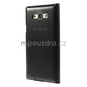 PU kožené pěněženkové pouzdro s okýnkem Samsung Galaxy E5 - černé - 4