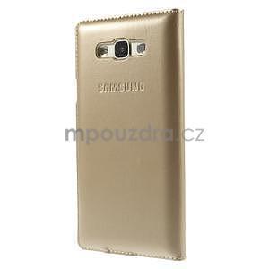 PU kožené pěněženkové pouzdro s okýnkem Samsung Galaxy E5 - zlaté - 4
