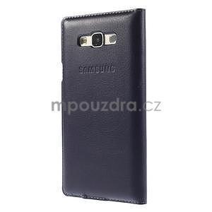 PU kožené pěněženkové pouzdro s okýnkem Samsung Galaxy E5 - tmavě modré - 4