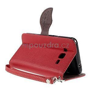 Červené/hnědé zapínací peněženkové pouzdro na Samsung Galaxy Grand Prime - 4