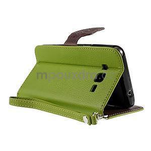 Zelené/hnědé zapínací peněženkové pouzdro na Samsung Galaxy Grand Prime - 4
