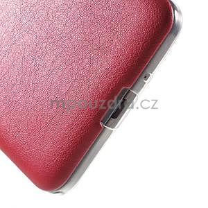 Ultratenký gelový kryt s imitací kůže na Samsung Grand Prime - červený - 4