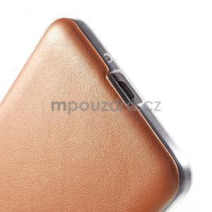 Ultratenký gelový kryt s imitací kůže na Samsung Grand Prime - oranžový - 4
