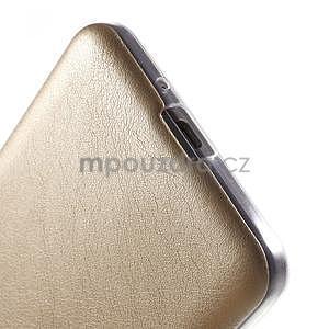 Ultratenký gelový kryt s imitací kůže na Samsung Grand Prime - zlatý - 4