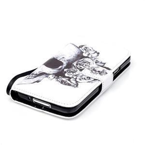 Knížkové PU kožené pouzdro na Samsung Galaxy S5 - lebka - 4
