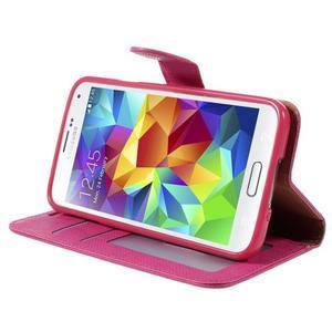 Clothy Pu kožené pouzdro na Samsung Galaxy S5 - rose - 4