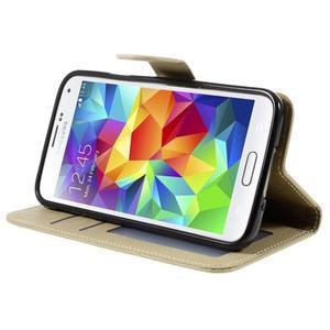 Clothy Pu kožené pouzdro na Samsung Galaxy S5 - champagne - 4