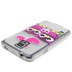 Transparentní gelový obal na mobil Samsung Galaxy S5 mini - soví rodinka - 4