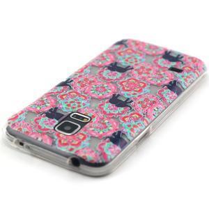 Transparentní gelový obal na mobil Samsung Galaxy S5 mini - květiny a sloni - 4