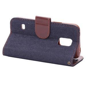 Jeans peněženkové pouzdro na Samsung Galaxy S5 mini - černomodré - 4