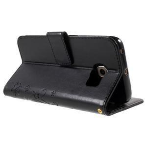 Butterfly PU kožené pouzdro na mobil Samsung Galaxy S6 Edge - černé - 4