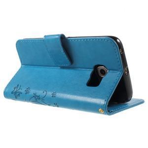 Butterfly PU kožené pouzdro na mobil Samsung Galaxy S6 Edge - modré - 4