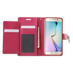 Richdiary PU kožené pouzdro na mobil Samsung Galaxy S6 Edge - růžové - 4