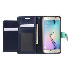 Richdiary PU kožené pouzdro na mobil Samsung Galaxy S6 Edge - azurové - 4