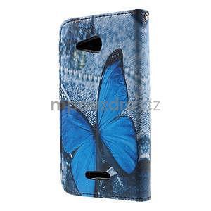 Peněženkové pouzdro na Sony Xperia E4g - modrý motýl - 4