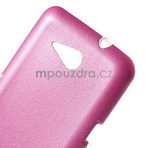 Gelový obal na Sony Xperia E4g s koženkovými zády - růžový - 4