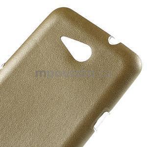 Gelový obal na Sony Xperia E4g s koženkovými zády - zlatý - 4