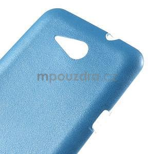 Gelový obal na Sony Xperia E4g s koženkovými zády - modrý - 4
