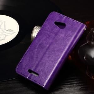 Horse PU kožené pouzdro na mobil Sony Xperia E4g - fialové - 4
