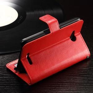 Horse PU kožené pouzdro na mobil Sony Xperia E4g - červené - 4