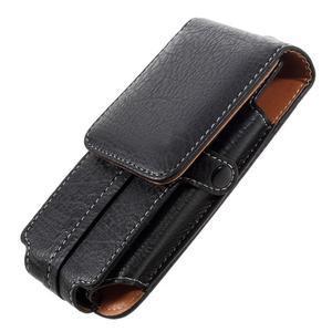 Cestovní PU kožené peněženkové pouzdro do rozměru 150 x 73 x 15 mm - černé - 4