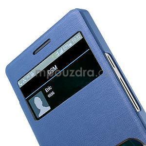 PU kožené pouzdro s okýnky na Huawei P6 - modré - 4