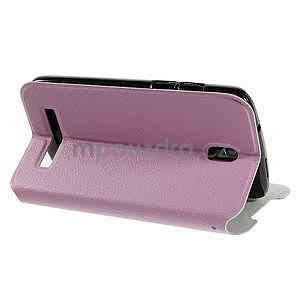 Flipové PU kožené pouzdro na HTC Desire 500 - růžové - 4