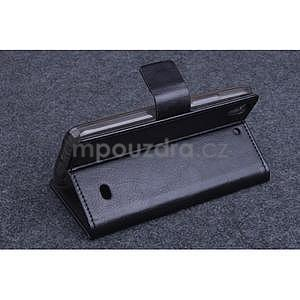 Černé PU kožené peněženkové pouzdro na Huawei Ascend G620s - 4