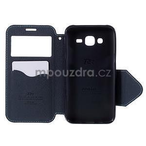 PU kožené pouzdro s okýnkem pro Samsung Galaxy J5 - světle modré - 4