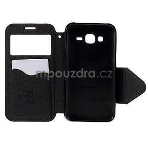 PU kožené pouzdro s okýnkem pro Samsung Galaxy J5 - tmavě modré - 4
